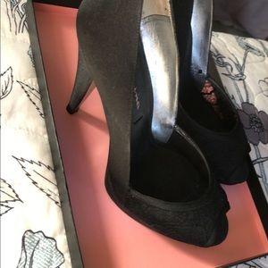 Black lace front heels